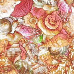seashell scatter red