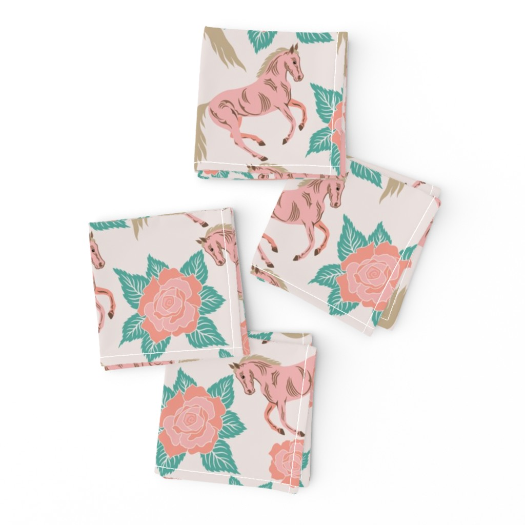 Frizzle Cocktail Napkins featuring Horses And Roses In Pink by theartofvikki