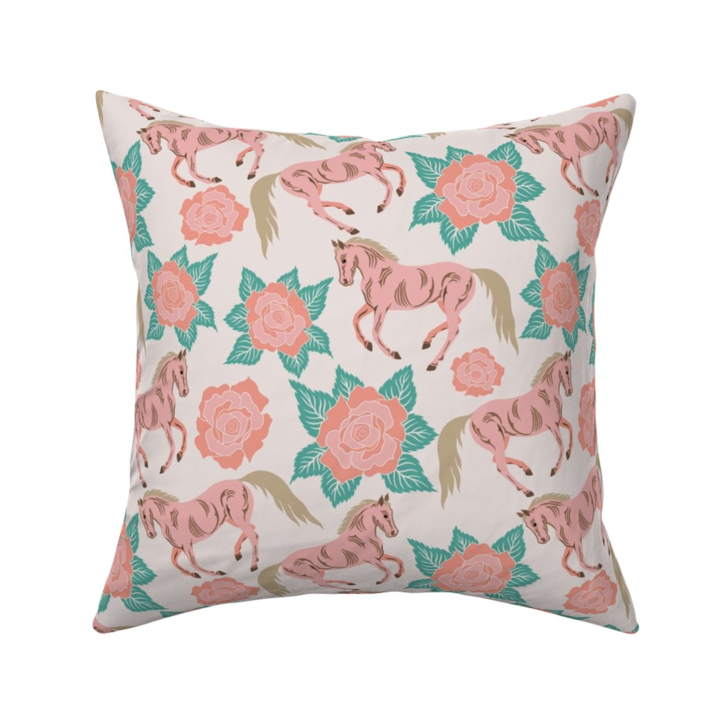 Catalan Throw Pillow featuring Horses And Roses In Pink by theartofvikki