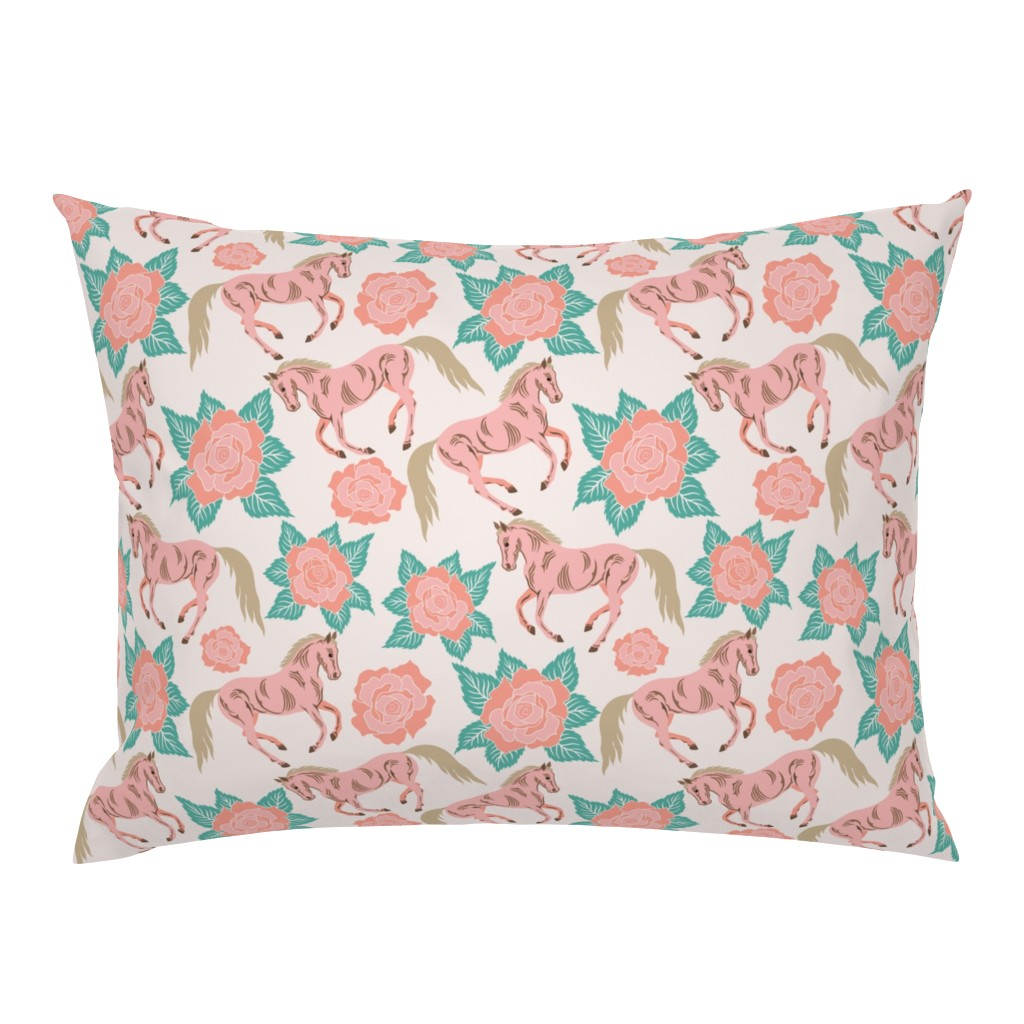 Campine Pillow Sham featuring Horses And Roses In Pink by theartofvikki