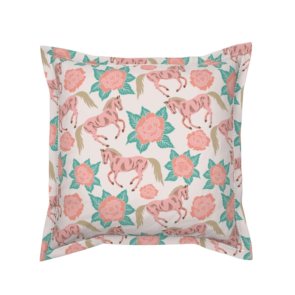 Serama Throw Pillow featuring Horses And Roses In Pink by theartofvikki