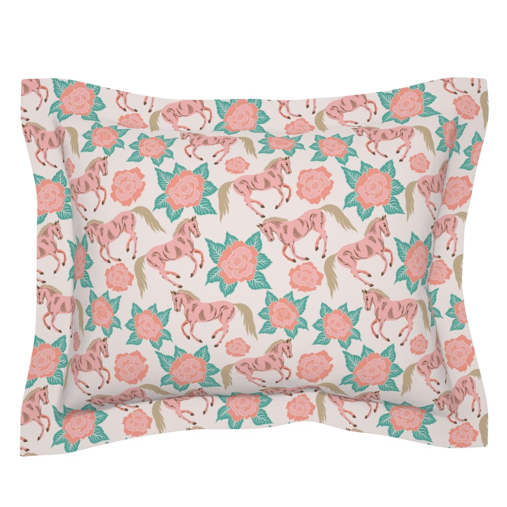 Sebright Pillow Sham featuring Horses And Roses In Pink by theartofvikki