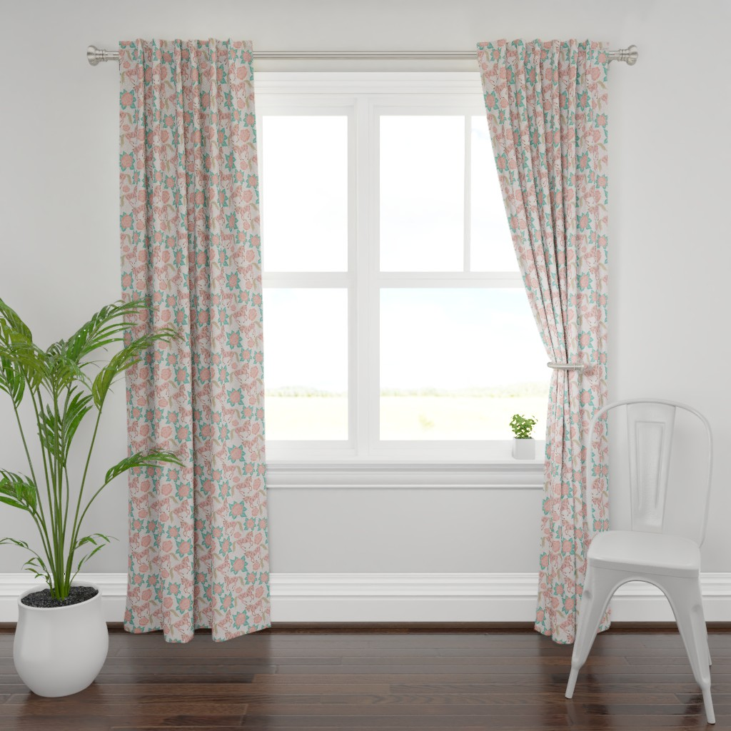 Plymouth Curtain Panel featuring Horses And Roses In Pink by theartofvikki