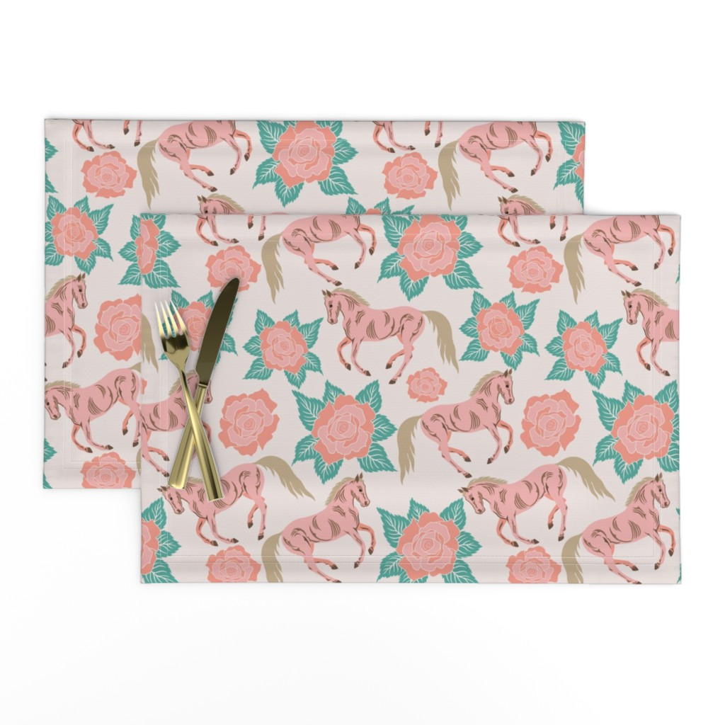 Lamona Cloth Placemats featuring Horses And Roses In Pink by theartofvikki