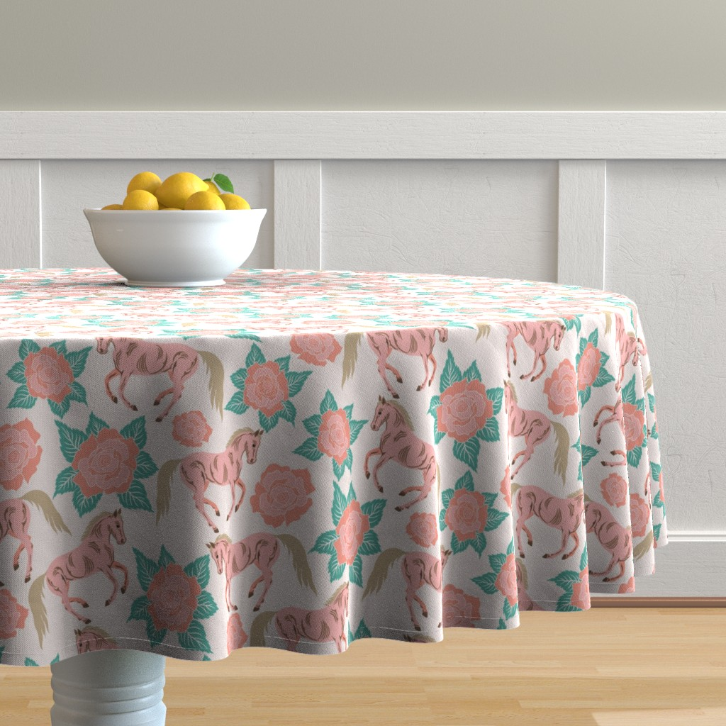 Malay Round Tablecloth featuring Horses And Roses In Pink by theartofvikki
