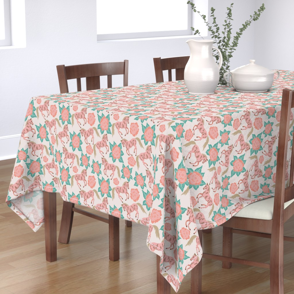 Bantam Rectangular Tablecloth featuring Horses And Roses In Pink by theartofvikki