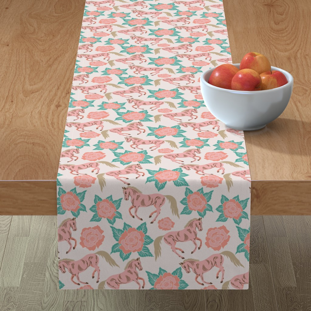 Minorca Table Runner featuring Horses And Roses In Pink by theartofvikki