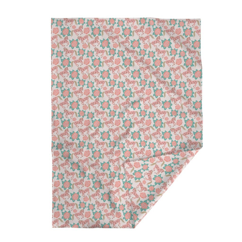 Lakenvelder Throw Blanket featuring Horses And Roses In Pink by theartofvikki