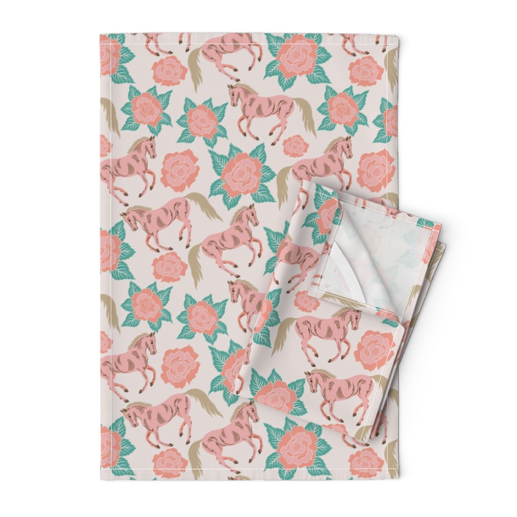 Orpington Tea Towels featuring Horses And Roses In Pink by theartofvikki