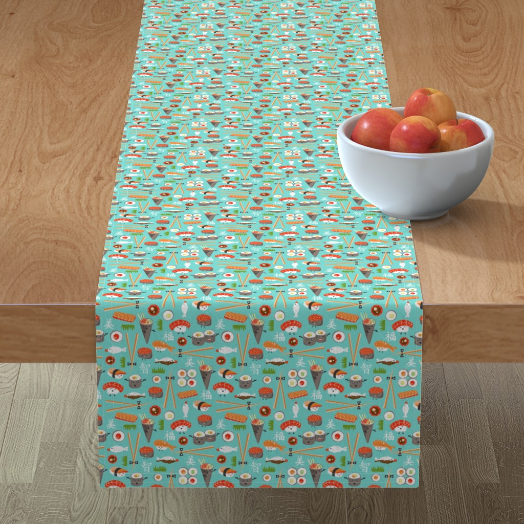 Minorca Table Runner featuring Happy Sushi - Kawaii Ditsy Scale by heatherdutton