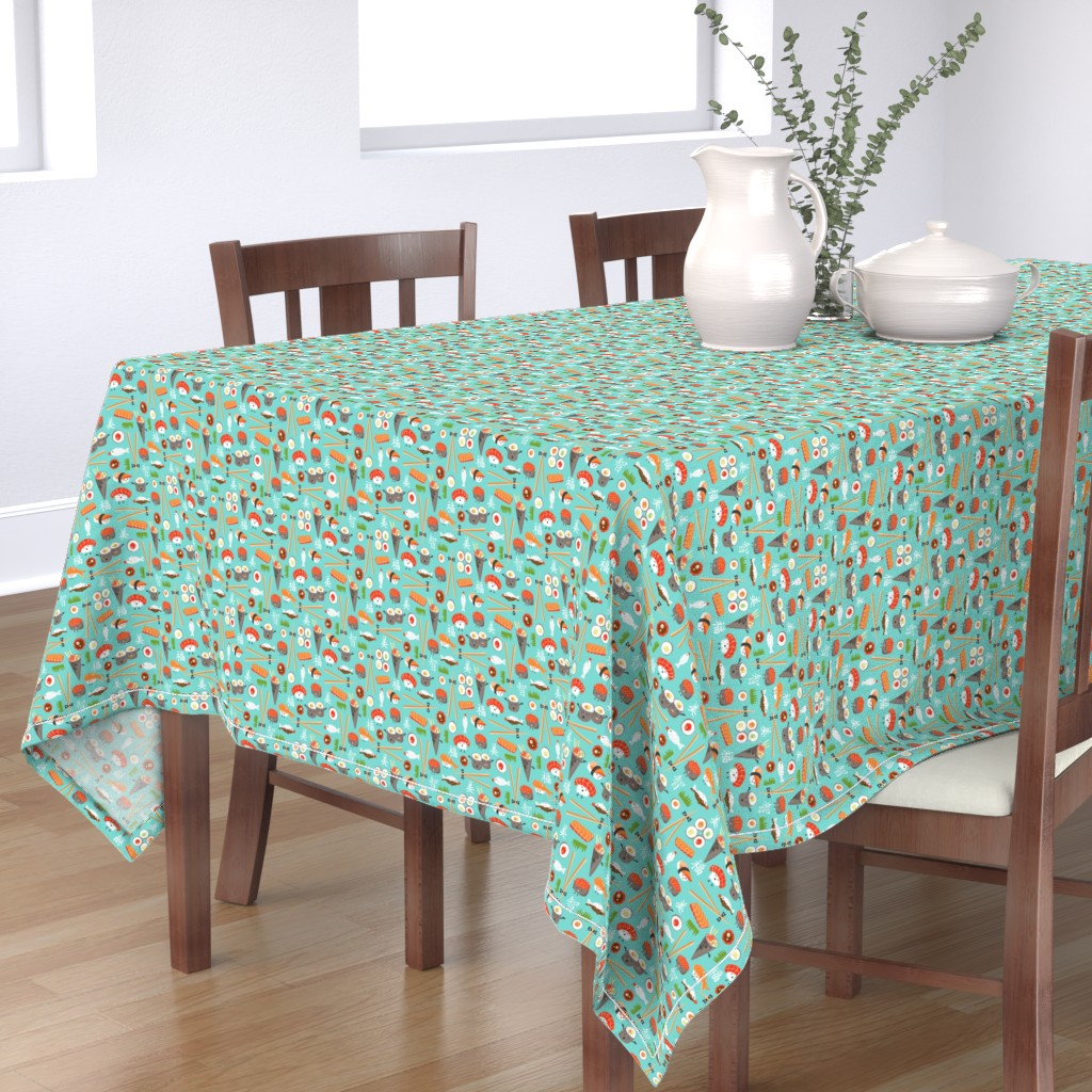 Bantam Rectangular Tablecloth featuring Happy Sushi - Kawaii Ditsy Scale by heatherdutton