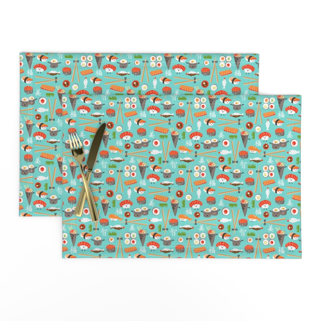 Lamona Cloth Placemats featuring Happy Sushi - Kawaii Ditsy Scale by heatherdutton