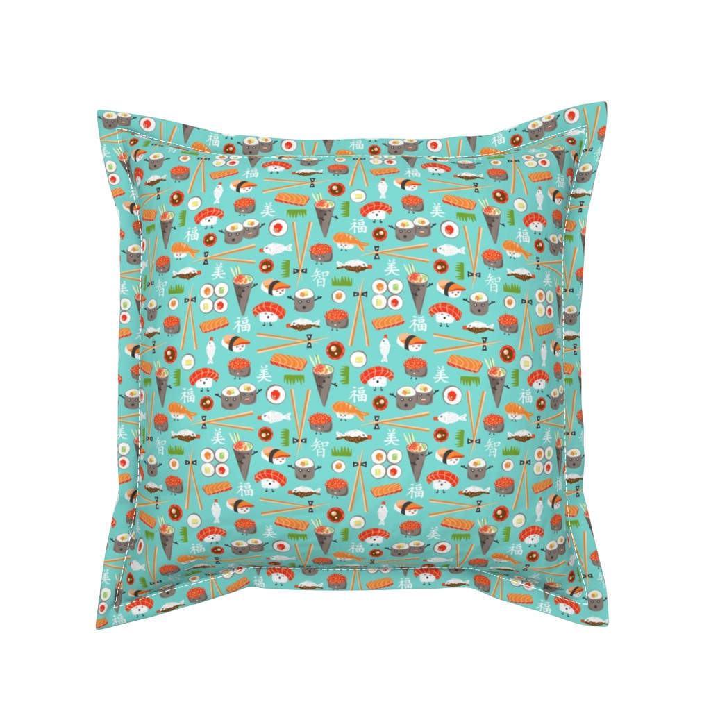 Serama Throw Pillow featuring Happy Sushi - Kawaii Ditsy Scale by heatherdutton