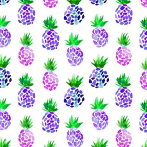 Purple pineapples, watercolor