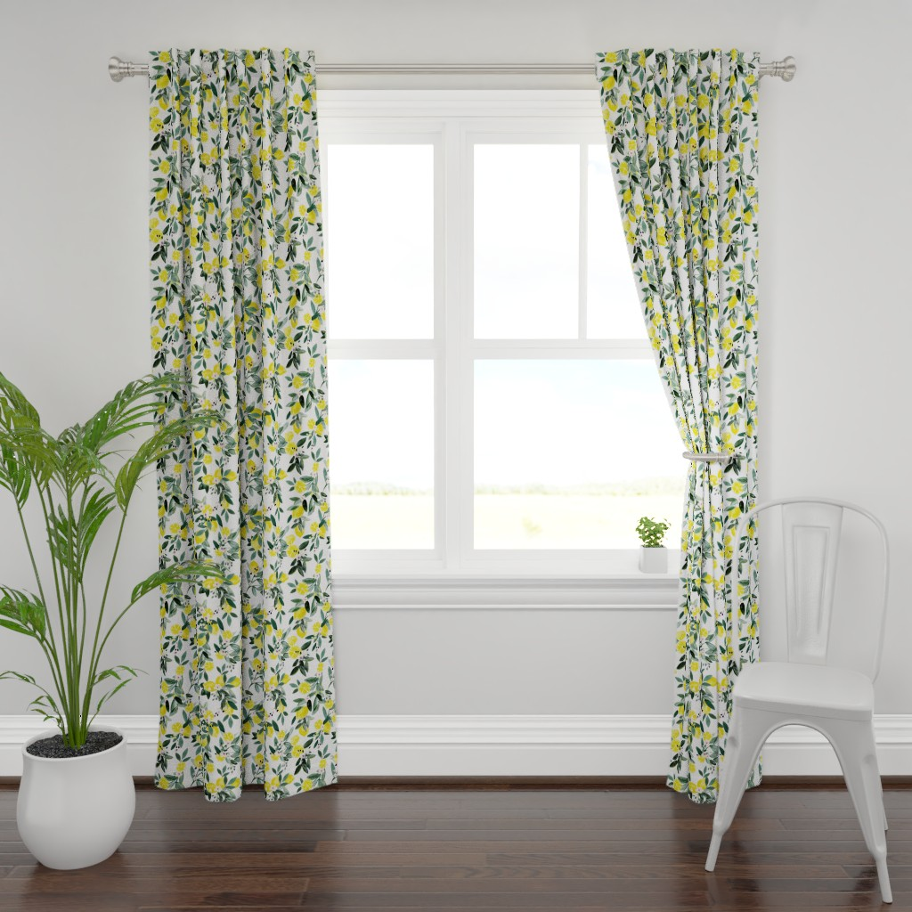 Plymouth Curtain Panel featuring Dear Clementine lemons by crystal_walen