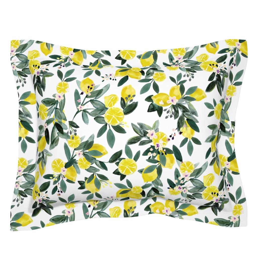 Sebright Pillow Sham featuring Dear Clementine lemons by crystal_walen