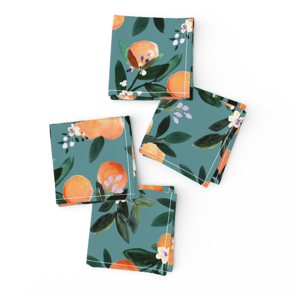Frizzle Cocktail Napkins featuring Dear Clementine oranges - teal by crystal_walen