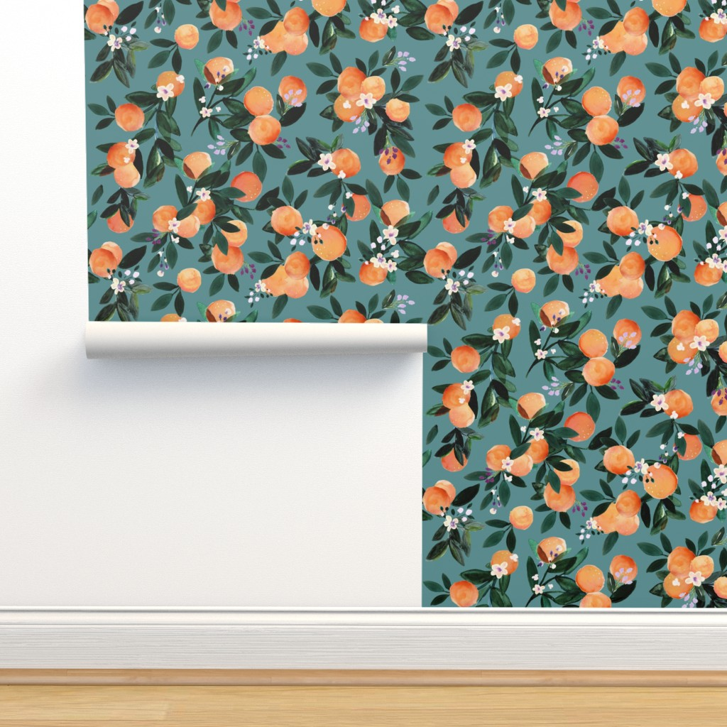 Isobar Durable Wallpaper featuring Dear Clementine oranges - teal by crystal_walen
