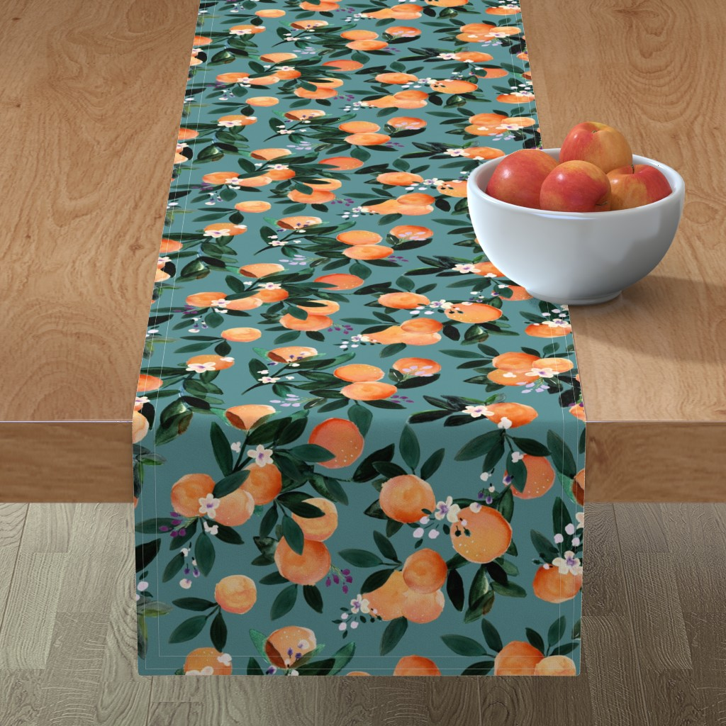 Minorca Table Runner featuring Dear Clementine oranges - teal by crystal_walen