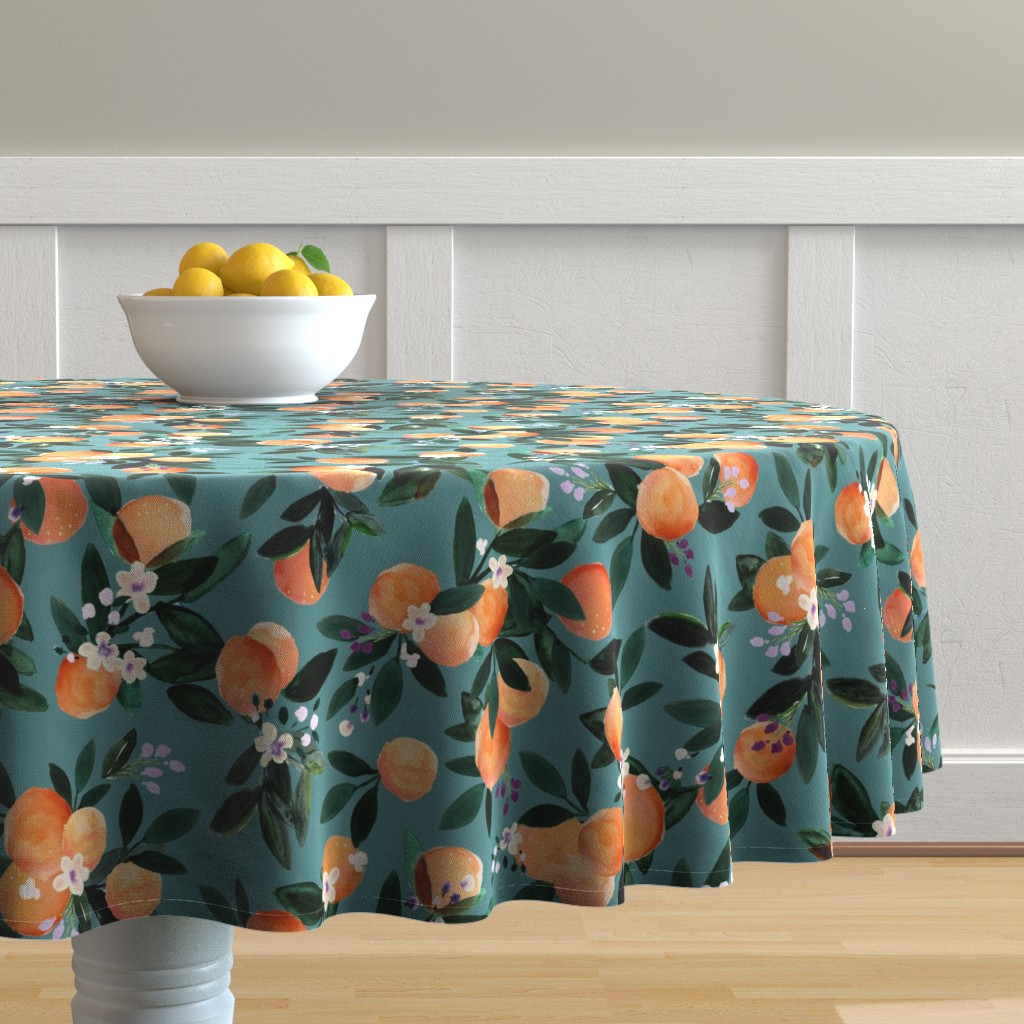 Malay Round Tablecloth featuring Dear Clementine oranges - teal by crystal_walen