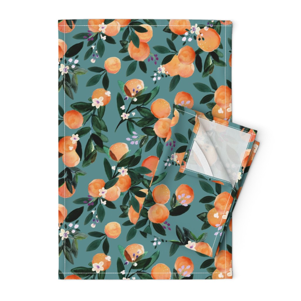 Orpington Tea Towels featuring Dear Clementine oranges - teal by crystal_walen