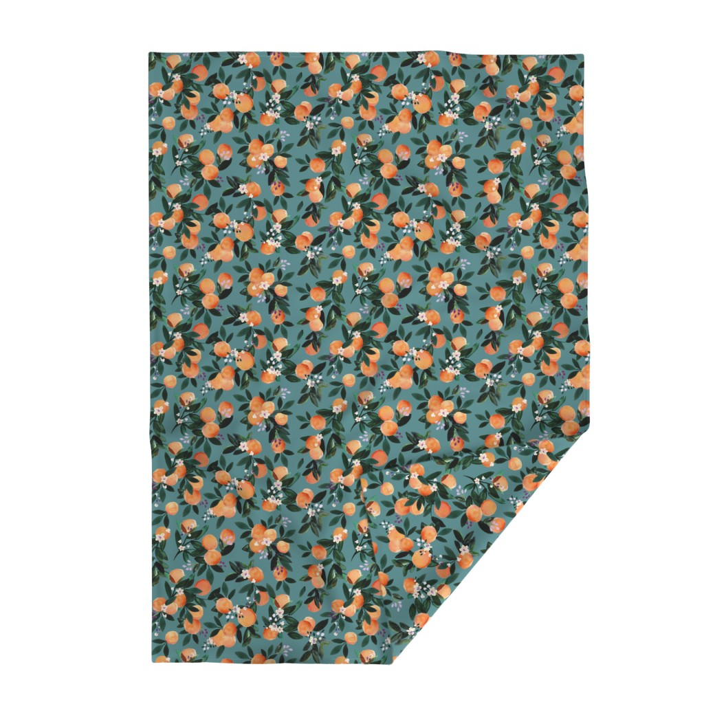 Lakenvelder Throw Blanket featuring Dear Clementine oranges - teal by crystal_walen