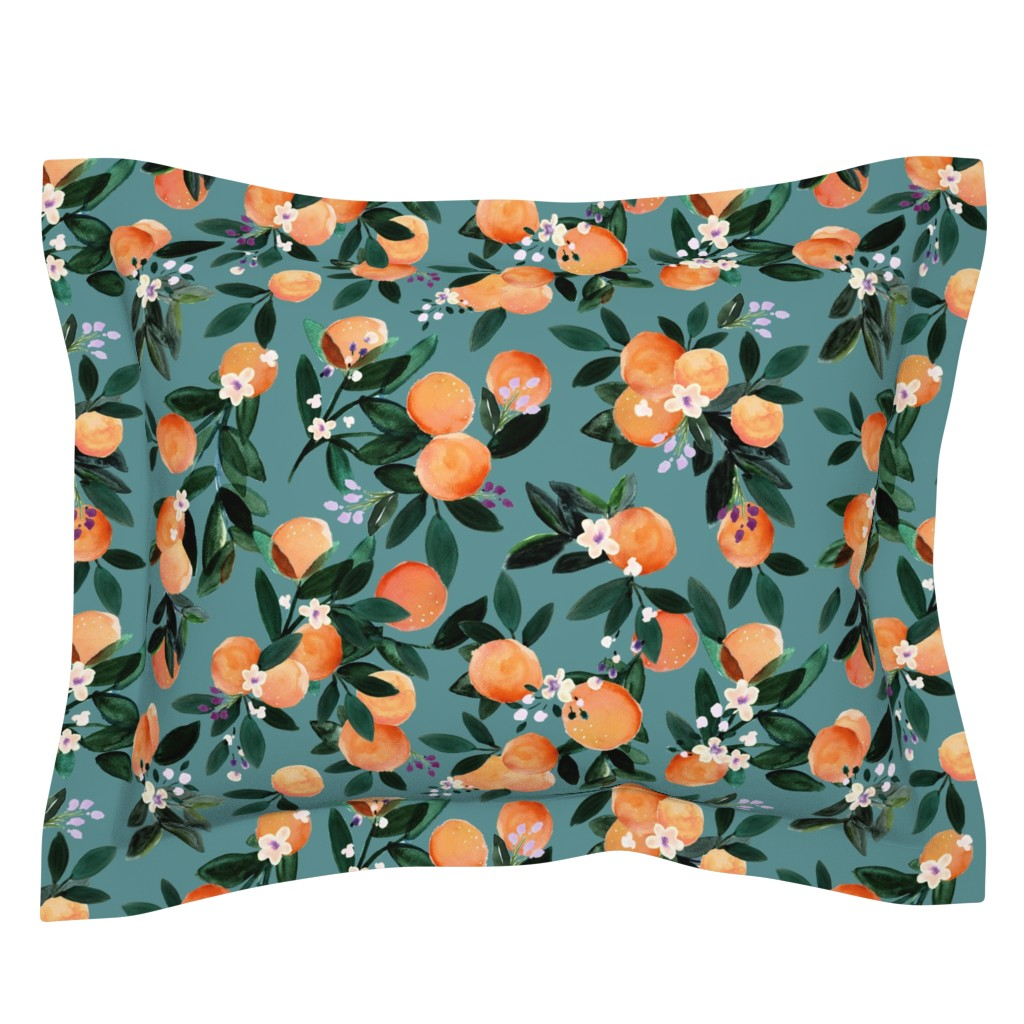 Sebright Pillow Sham featuring Dear Clementine oranges - teal by crystal_walen