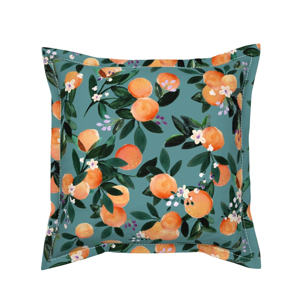 Serama Throw Pillow featuring Dear Clementine oranges - teal by crystal_walen