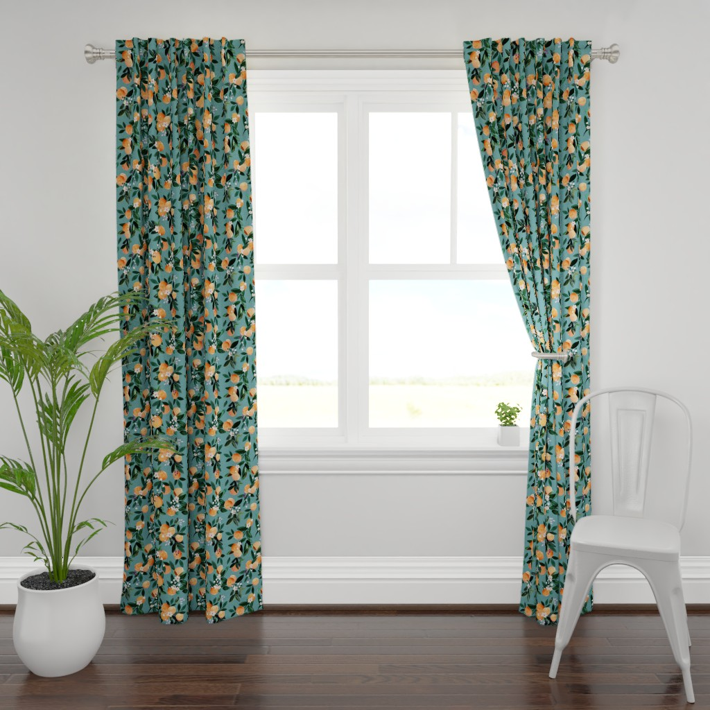 Plymouth Curtain Panel featuring Dear Clementine oranges - teal by crystal_walen