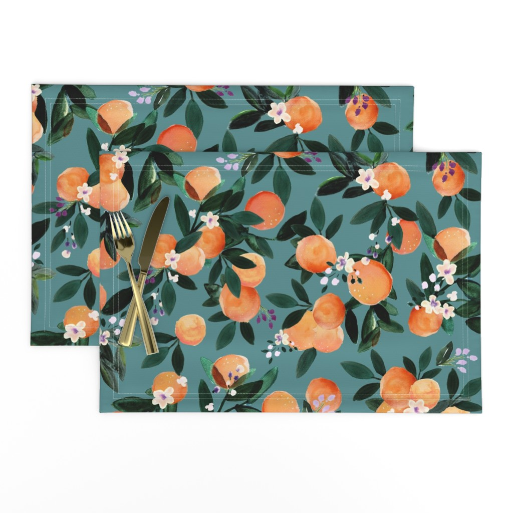 Lamona Cloth Placemats featuring Dear Clementine oranges - teal by crystal_walen