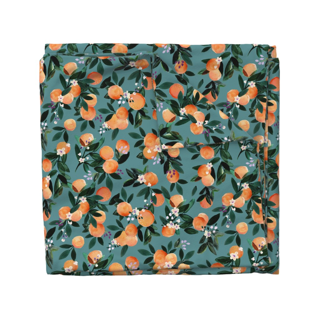 Wyandotte Duvet Cover featuring Dear Clementine oranges - teal by crystal_walen