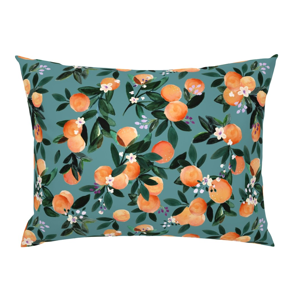 Campine Pillow Sham featuring Dear Clementine oranges - teal by crystal_walen