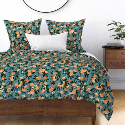 Dear Clementine oranges - teal - Spoonflower