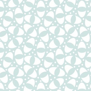 Ovals within Ovals, Curvy Organic White Shapes on a Dainty Light Blue Minty Color