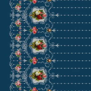 Victorian Roses and Filigree Border - Dark Blue