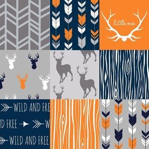 Patchwork Deer - Navy, Orange, Grey - Broncos