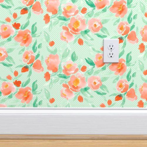 Wallpaper Watercolor Floral Dot Orange On Mint Green