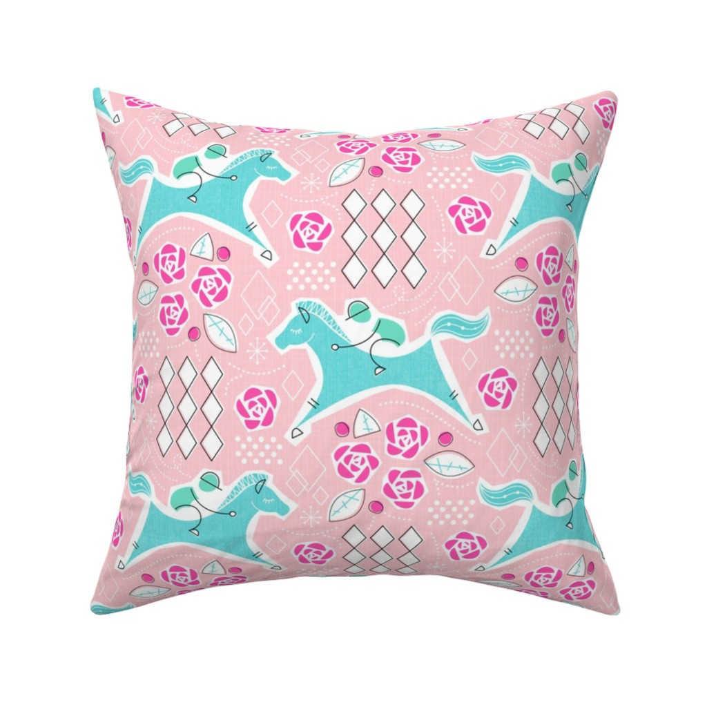 Catalan Throw Pillow featuring Derby-Retro Party by mia_valdez