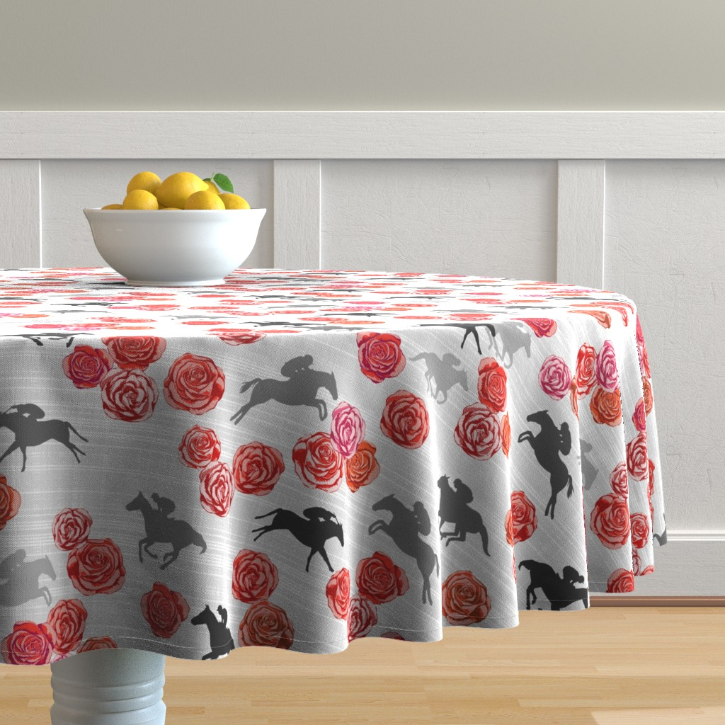 Malay Round Tablecloth featuring Races And Roses by mrshervi