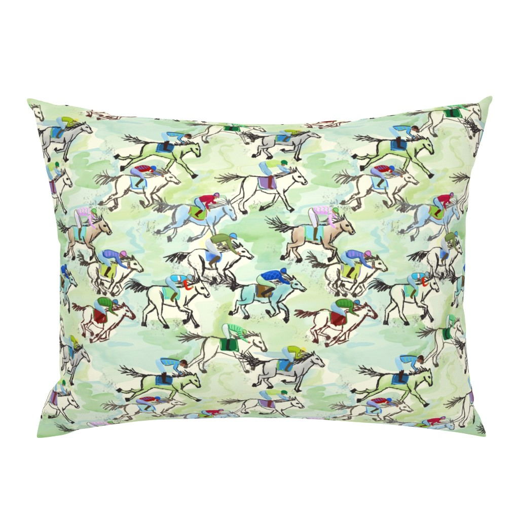 Campine Pillow Sham featuring off to the horse races by designed_by_debby