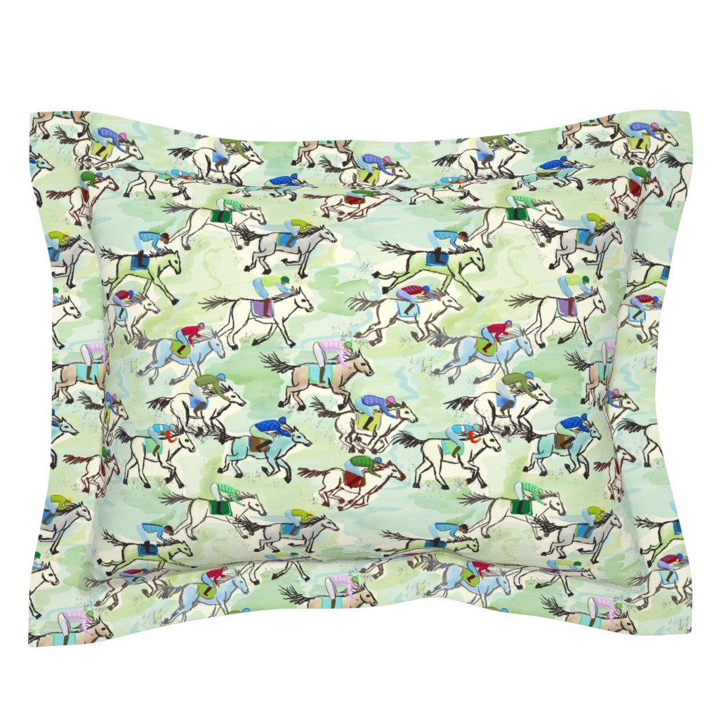 Sebright Pillow Sham featuring off to the horse races by designed_by_debby
