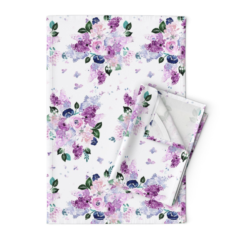 Orpington Tea Towels featuring lilac lavender romance by crystal_walen