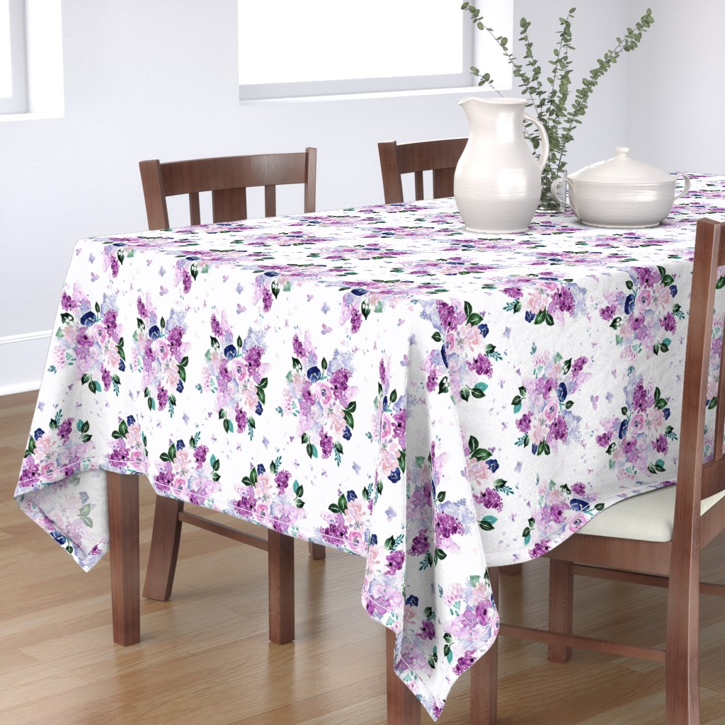 Bantam Rectangular Tablecloth featuring lilac lavender romance by crystal_walen