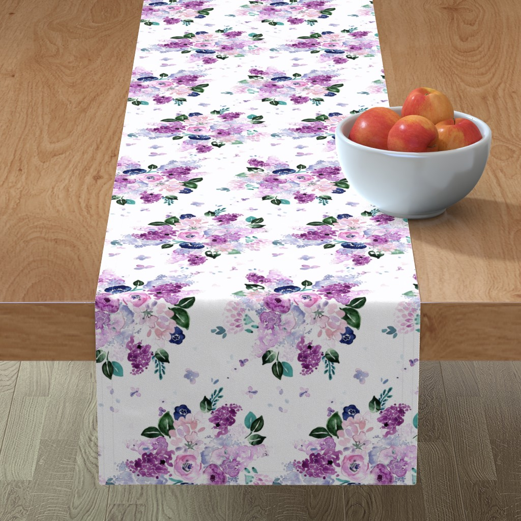 Minorca Table Runner featuring lilac lavender romance by crystal_walen