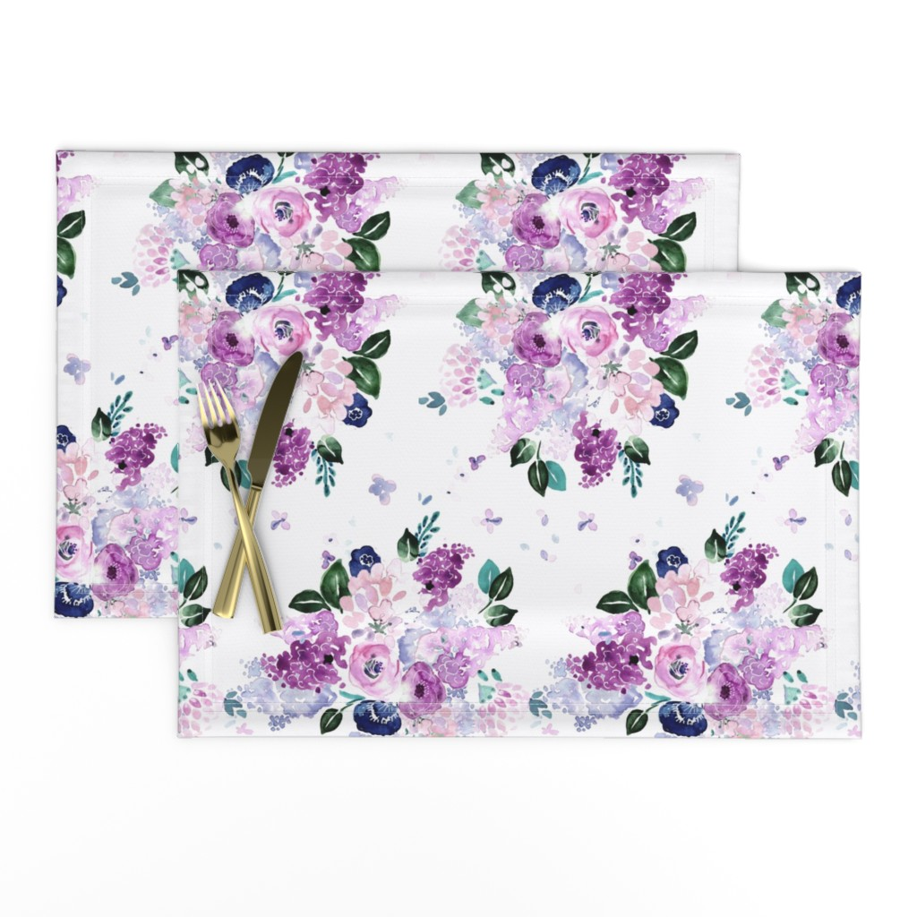 Lamona Cloth Placemats featuring lilac lavender romance by crystal_walen