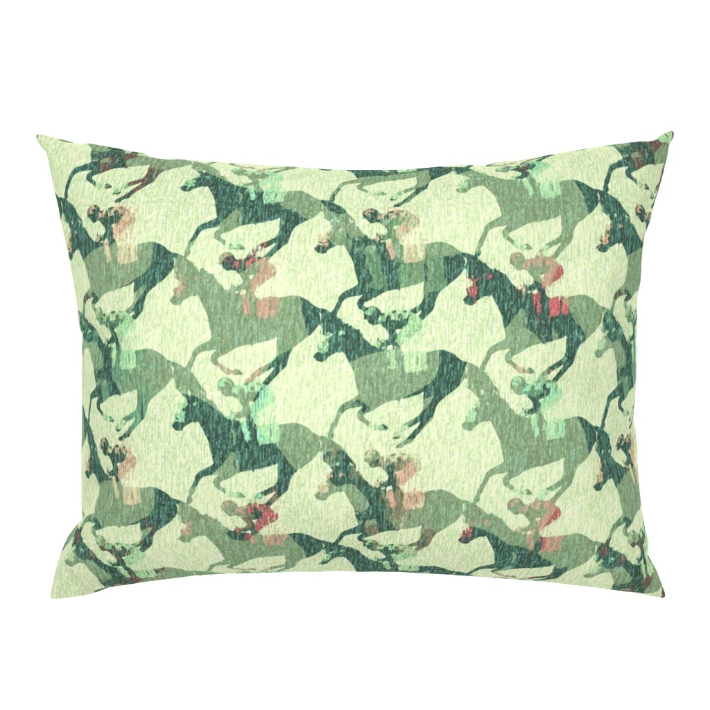 Campine Pillow Sham featuring Horse Race in the rain by chicca_besso