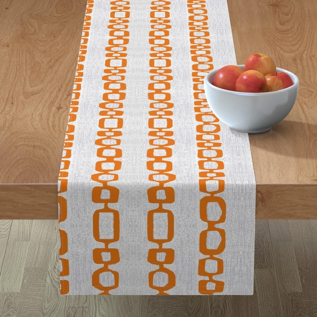 Minorca Table Runner featuring atomic links mid century orange gray by jenlats