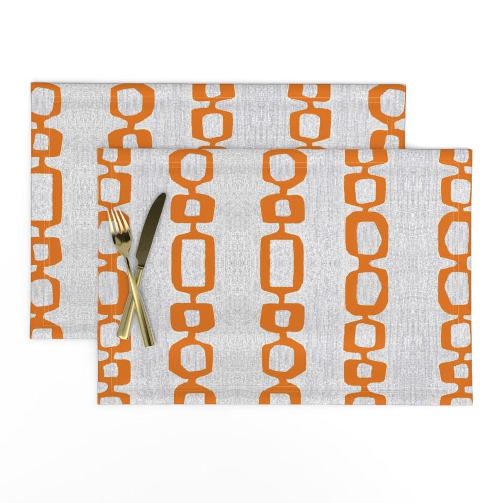 Lamona Cloth Placemats featuring atomic links mid century orange gray by jenlats