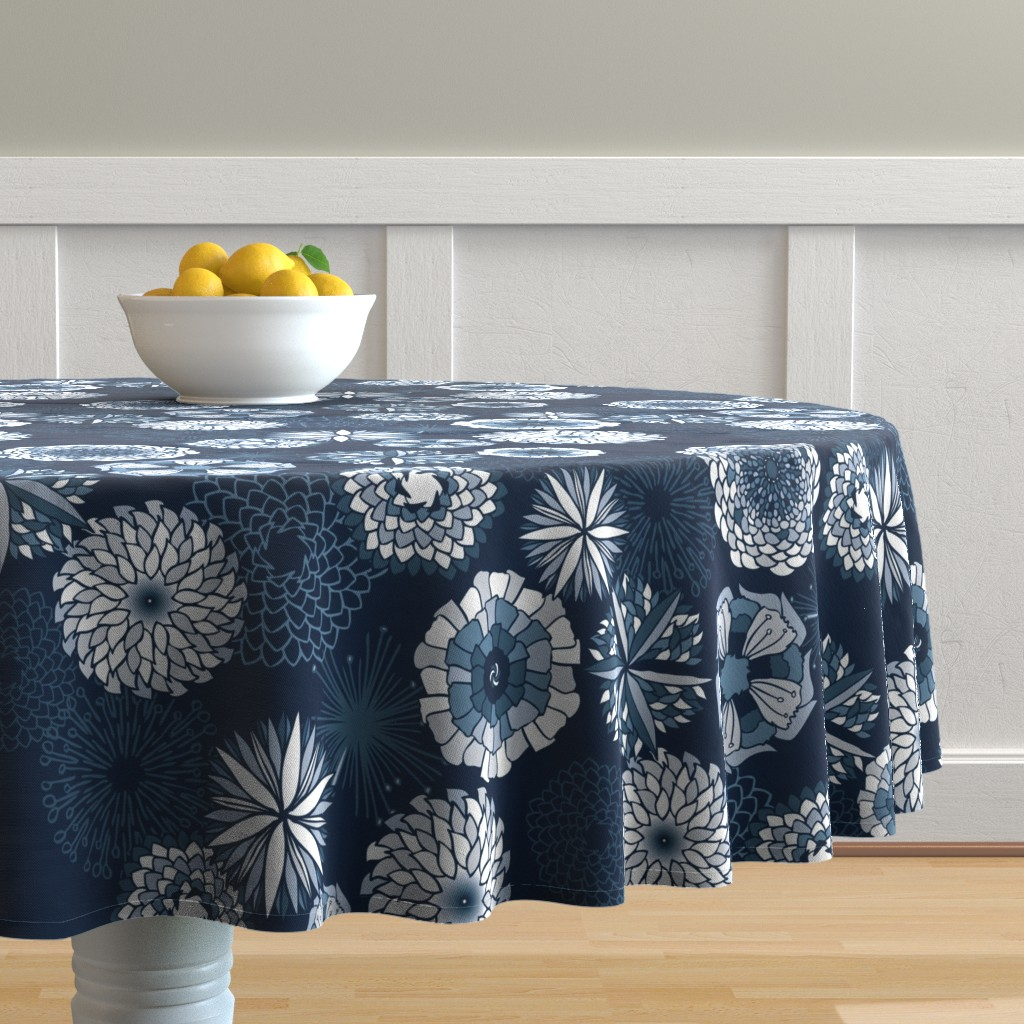 Malay Round Tablecloth featuring Flowers in happy blue monochrome  by cinz