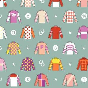 Jockey Around* (Camouflage)    horse race races racing jockey horseshoe horseshoes uniform geometric stars